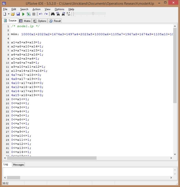 Figure 3. LPSolve IDE showing Source window