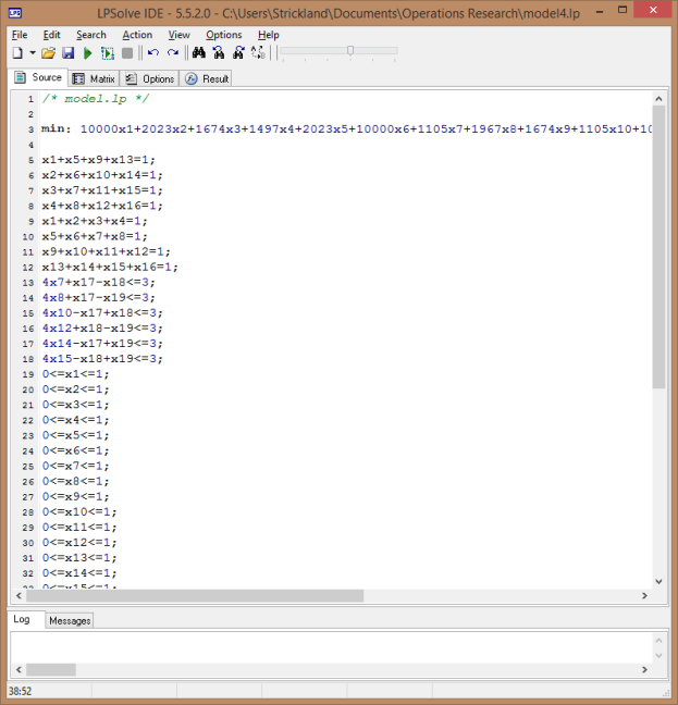 Figure 3. LPSolve IDE showing Source window