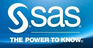 White SAS logo on abstract background